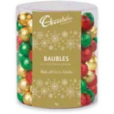 Chocolatier Tub Milk Chocolate Baubles Assorted Foils 1kg (approx 167)