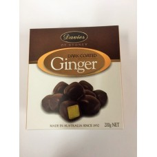 Davies Chocolates Dark Chocolate Ginger Carton 200g